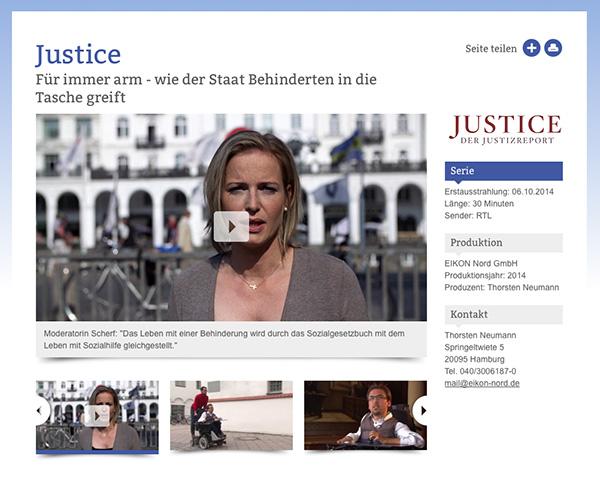 """Screenshot der Internetpräsentation von Eikon Nord, die den Film """"Für immer arm – wie der Staat Behinderten in die Tasche greift"""" produziert hab"""