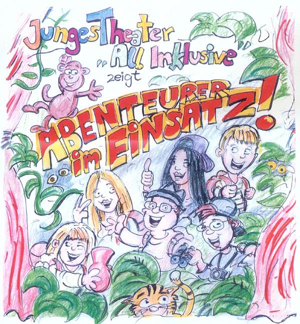 Zeichnung Junges Theater All Inklusive Abenteurer im Einsatz
