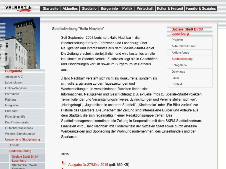 """Screenshot der Internetpräsentation der Stadt Velbert Stadtteilzeitung """"Hallo Nachbar"""""""