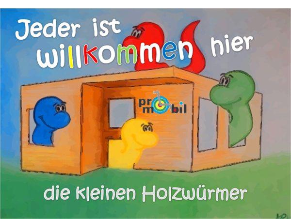 """Grafik Zeichnung mit Text """"Jeder ist willkommen"""" die kleinen Holzwürmer"""
