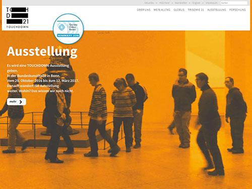 Screenshot Internetpäsentation Touchdown 21 Ausstellung in der Bundeskunsthalle